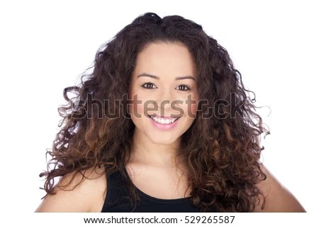 beautiful woman smiling casually big curly stock photo shutterstock