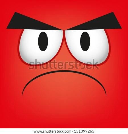 A Vector Cute Cartoon Red Angry Face - stock vector