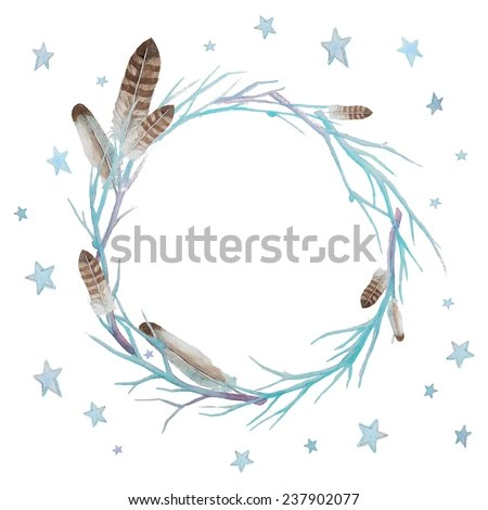 Stars Feathers Wreath Watercolor Winter Branches Stock
