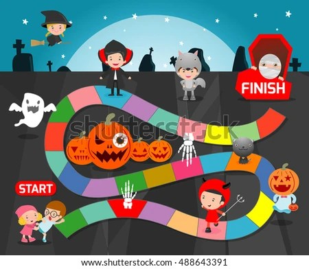 Board Game Halloween Games Kids Child Board Stock Vector 488643391     board game with Halloween Games for kids  child board game Vector  Illustration