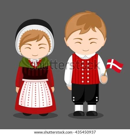 Danes National Dress Flag Man Woman Stock Vector 435450937