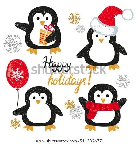 Set Cute Doodle Penguins Merry Christmas Stock Vector