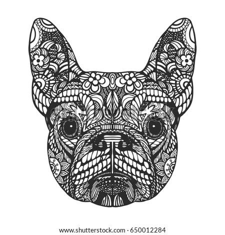Portrait French Bulldog Handdrawn Illustration Tshirt