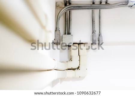 Electric Pipe Line Electric Metal Conduit Stock Photo  100  Legal     electric pipe line and electric metal conduit wiring work Installation on  concrete wall  industrial background