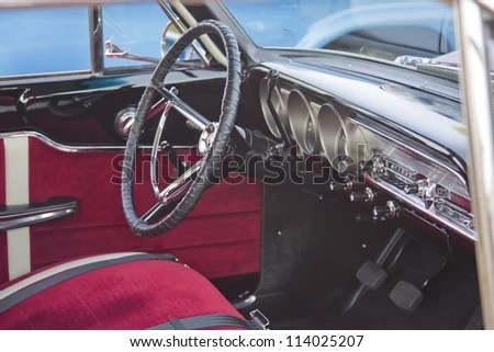 MARION WI SEPTEMBER 16 Interior 1963 Stock Photo  Edit Now     MARION  WI   SEPTEMBER 16  Interior of 1963 Red Ford Fairlane car at the