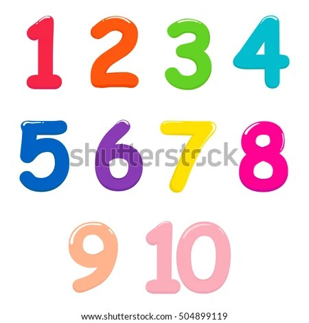 Colorful Bright Numbers Children One Ten Stock Vector ...