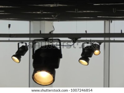 Rail System Follow Spotlights Stage Lighting Stock Photo  Edit Now     Rail system with follow spotlights for stage lighting