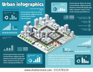 City Isometric Infographics There Diagram Building Stock
