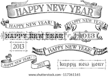 victorian style new year banner