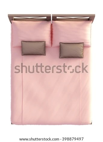 3d Rendering Bed Top View Isolated Stock Illustration