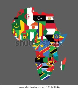 Detailed Map Africa All Countries Flags Stock Vector 375173944     Detailed map of Africa with all the countries flags inside their borders African  countries