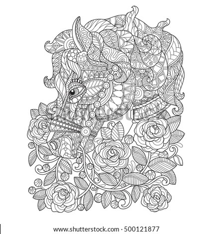 Horse Rose Garden Zentangle Stylized Cartoon Stock Vector