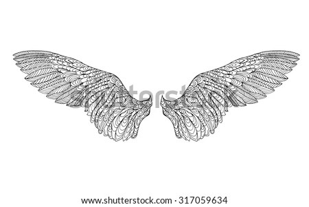 Wings Feather Black White Hand Drawn Stock Vector Royalty