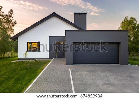 Modern House Garage Green Lawn Exterior Stock Photo  Edit Now     Modern house with garage and green lawn  exterior view