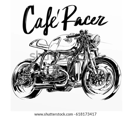 Cafe Racer Motorcycle Poster Stock Ilration 618173417 Shutterstock