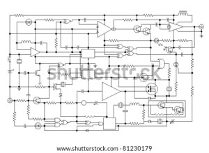 Schematic Diagram Project Electronic Circuit Graphic Stock Vector 81230179  Shutterstock