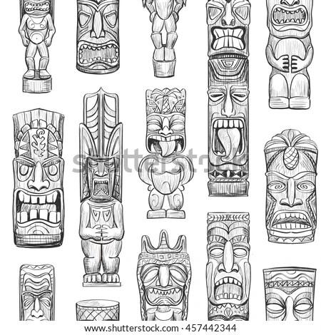 Vector Collection Sketches Hawaiian Tiki Idols Stock