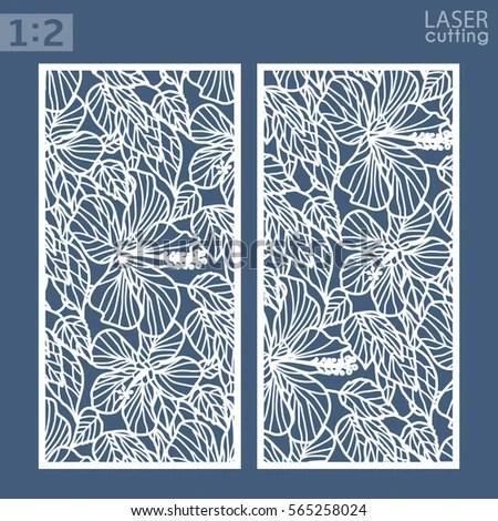 Die Laser Cut Ornamental Panels Floral Stock Vector