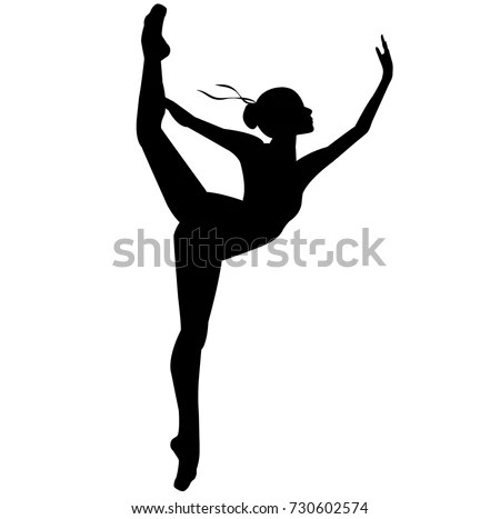 Silhouette Dancing Ballerina Isolated Background White