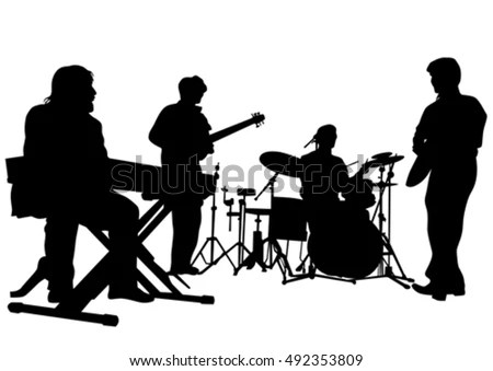 Drawing Jazz Musicians On Stage Stock Illustration ...