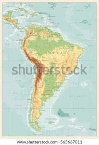 Retro Color Physical Map South America Stock Vector 565667011     Retro Color Physical Map of South America with global relief  lakes and  rivers  Highly