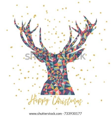 Vector Christmas Card Triangle Reindeer Deer Stock Vector