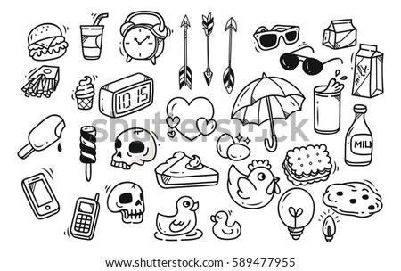 Junk Food Doodle Stock Vector 98354405 Shutterstock