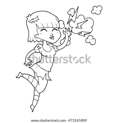 Outline Illustration Little Girl Watering Flower Stock