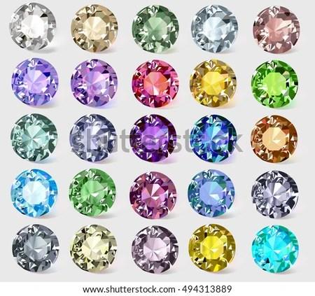 Illustration Set Precious Stones Different Colors Stock