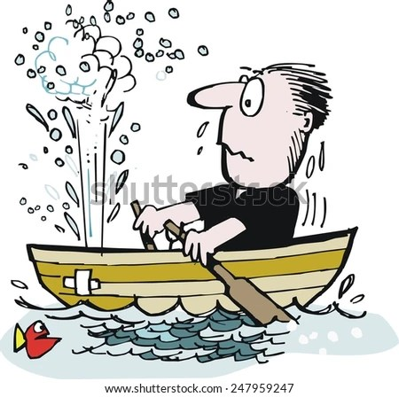 Vector Cartoon Man Trying Row Leaky Stock Vector 247959247