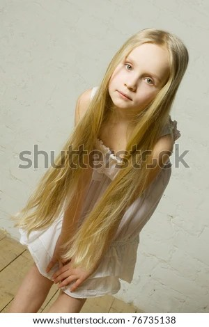 Little Girl Fashion Model Long Blond Stock Photo 74389555