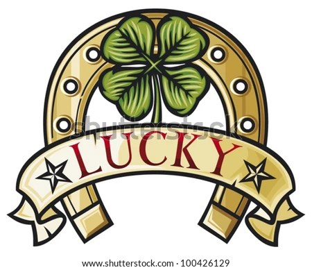 stock-vector-horseshoe-and-four-leaf-clover-lucky-symbol-four-leafs-clover-100426129.jpg (450×389)