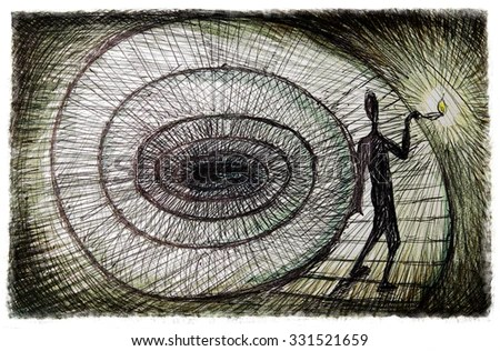 the inner journey, psychology concept illustration  - stock photo