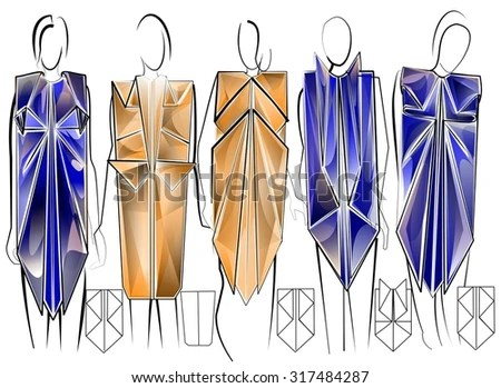 Stylized Modern Fashion Sketches Set Geometric Stock Illustration     Stylized modern fashion sketches set in geometric origami style
