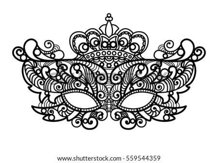 Set Lace Carnival Venetian Masks On Stock Vector 530235460