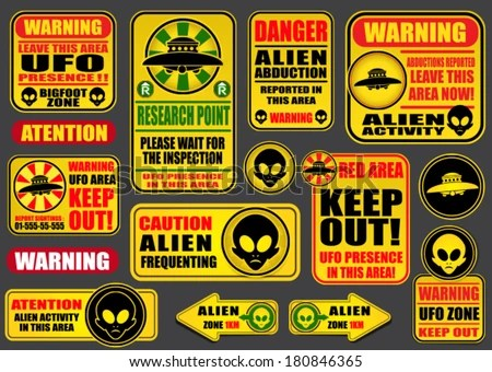 Vintage Ufo Flying Saucer Shapes Silhouettes Stock Vector