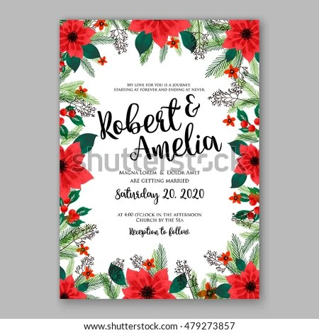 Poinsettia Wedding Invitation Sample Card Beautiful