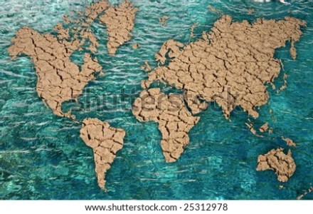 Word Map Oceans Water Dry Countries Stock Photo  Royalty Free     Word map with oceans in water and dry countries
