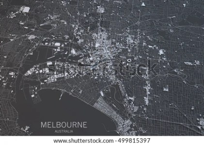 Melbourne Map Satellite View City Australia Stock Illustration     Melbourne map  satellite view  city  Australia  3d rendering