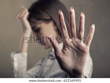 Woman Victim Domestic Violence Abuse Husband Stock Photo