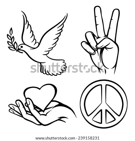 Download Peace Symbols Two Thumbs Up Dove Stock Vector (Royalty ...
