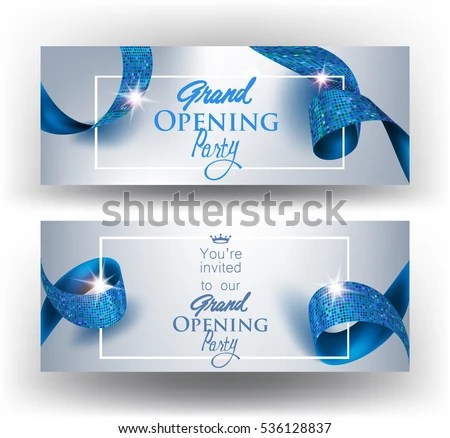 Elegant Grand Opening Invitation Cards Blue Stock Vector