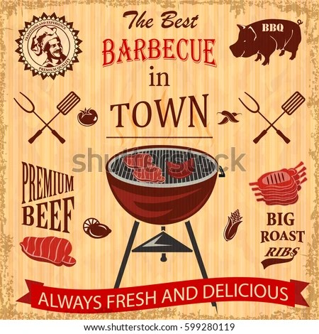 Barbecue Party Poster Steaks On Grill Stock Vector