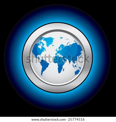 Glowing World Map Button Stock Vector HD  Royalty Free  25774516     Glowing world map button