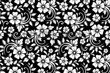 Floral Seamless Black White Pattern Stock Vector Illustration Of Vintage Background Beautiful Flowers Fashion