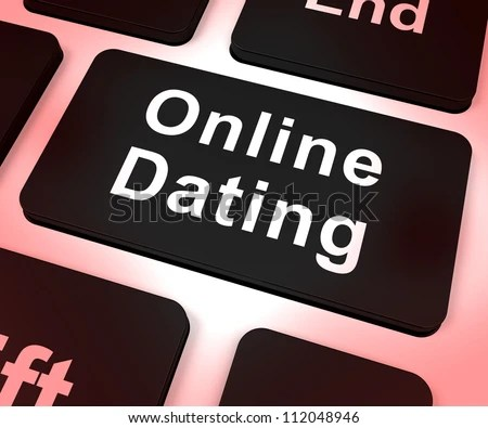 Online Dating Computer Key Shows Romance And Web Love - stock photo