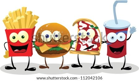 A group of friendly Fast Food meals - stock vector