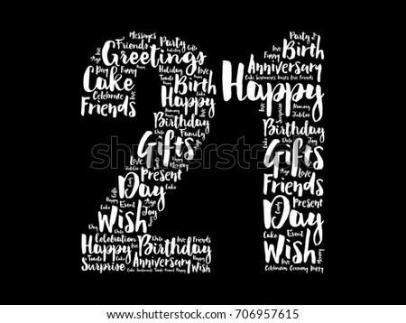 Happy 21st Birthday Word Cloud Collage Stock Vector