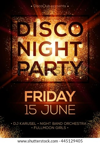 Disco Night Party Vector Poster Template Stock Vector 445129405 Shutterstock