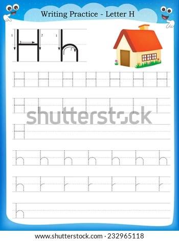 Writing Practice Letter H Printable Worksheet Stock Vector ...